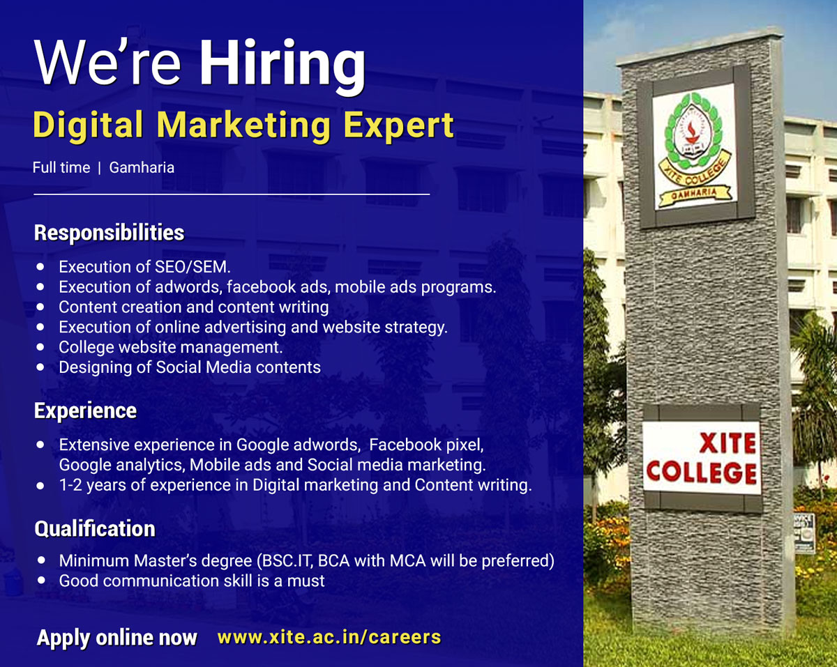 We are looking for an Expert in Digital Marketing - Apply Now